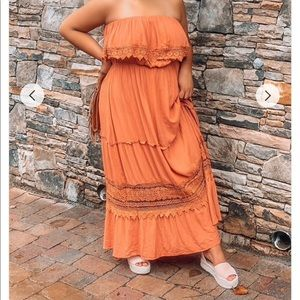Crochet Trim Orange strapless Maxi dress